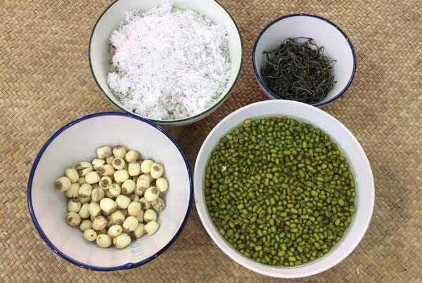 Nguyên liệu nấu chè đậu xanh hạt sen phổ tai